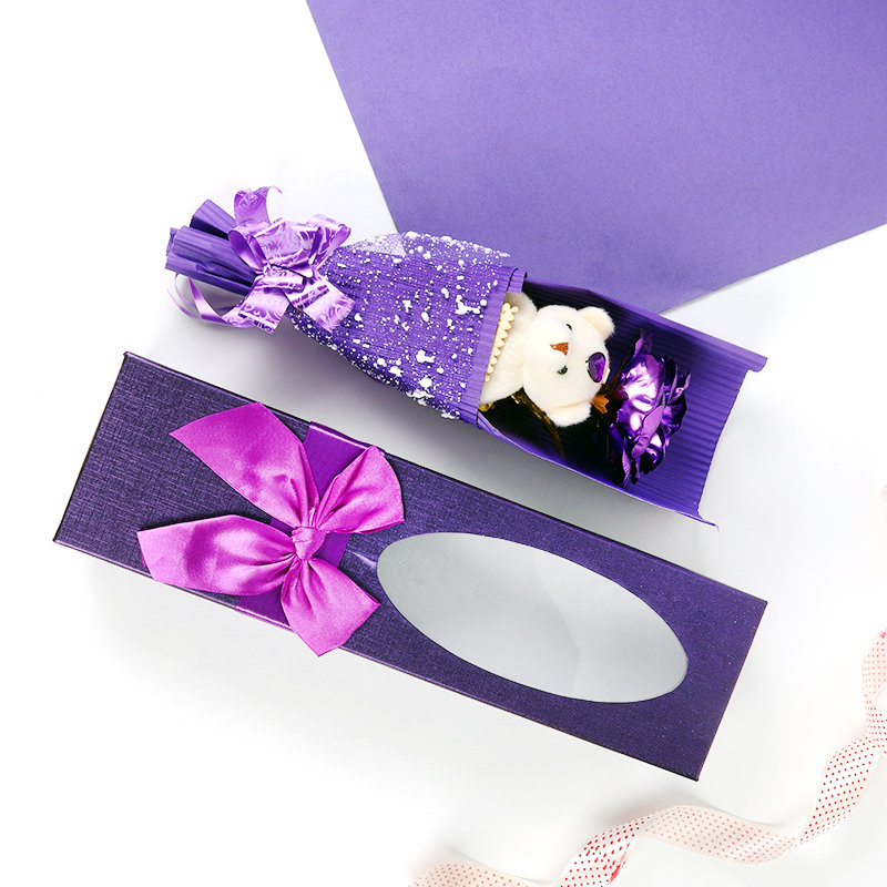 Purple Rose Teddy Bouquet