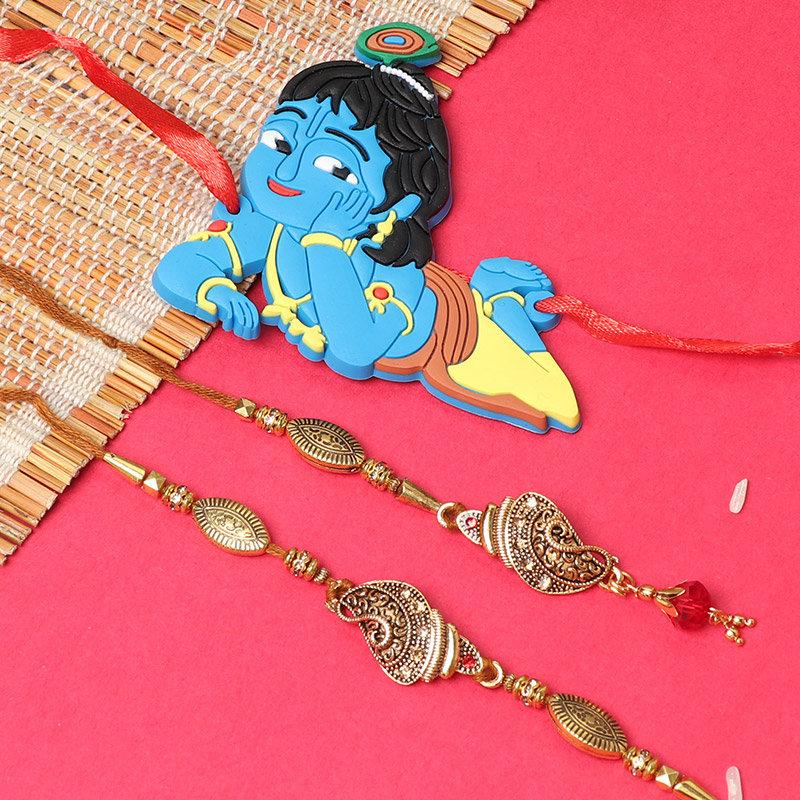 Pyar Bhari Rakhi - Set of Bhaiya Bhabhi Designer Rakhi with One Lord Krishna Rakhi and Complimentary Roli and Chawal
