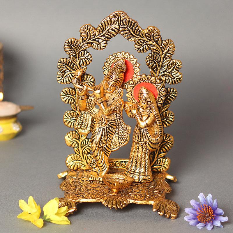 Radha Krishna Oxidised Diya Stand - Material - Metal