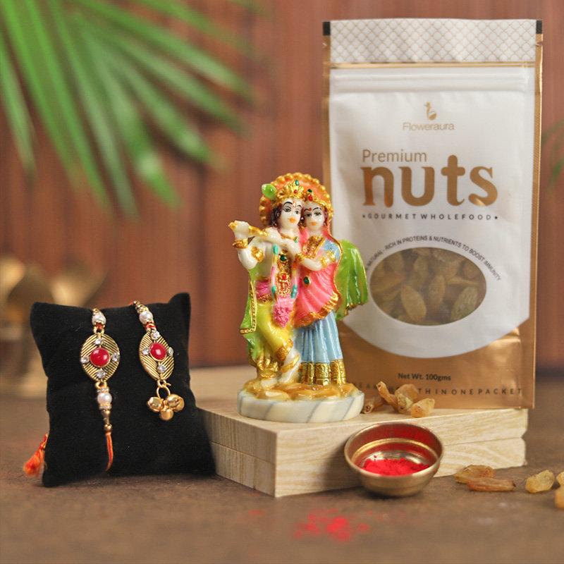Radha Krishna Rakhi Combo - Set of Bhaiya Bhabhi Designer Rakhi