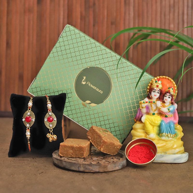 Radha Krishna Rakhi Gift Pack - Set of Bhaiya Bhabhi Designer Rakhi