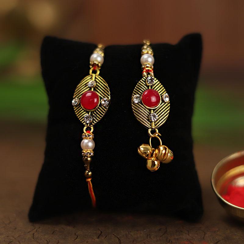 Order Set of Bhaiya Bhabhi Designer Rakhi Online