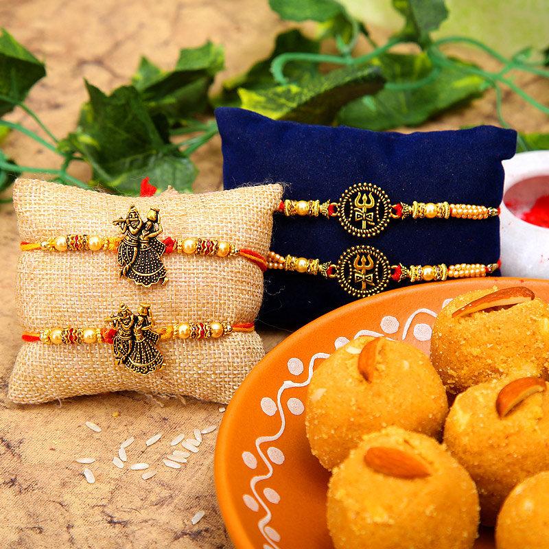 Radha Krishna Trishul Rakhi Combo