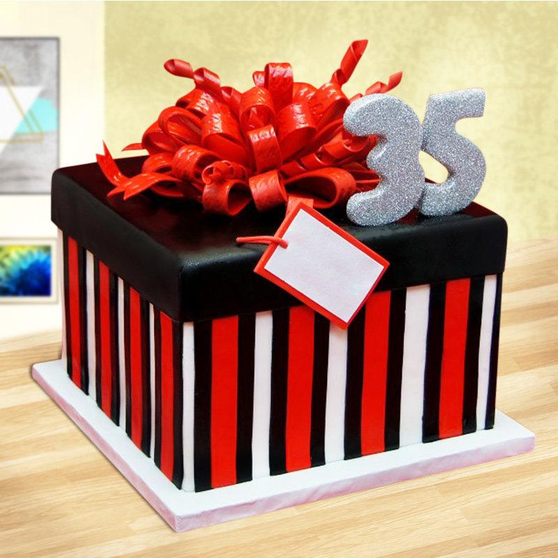 Square With Ribbon Fondant Cake