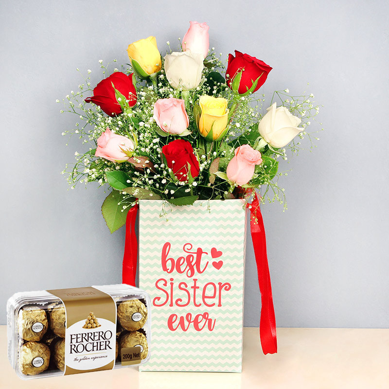 Rainbow Roses Rocher Combo - Bunch of 10 Mixed Roses with Sister Flower Box and Pack of 16 Ferrero Rochers