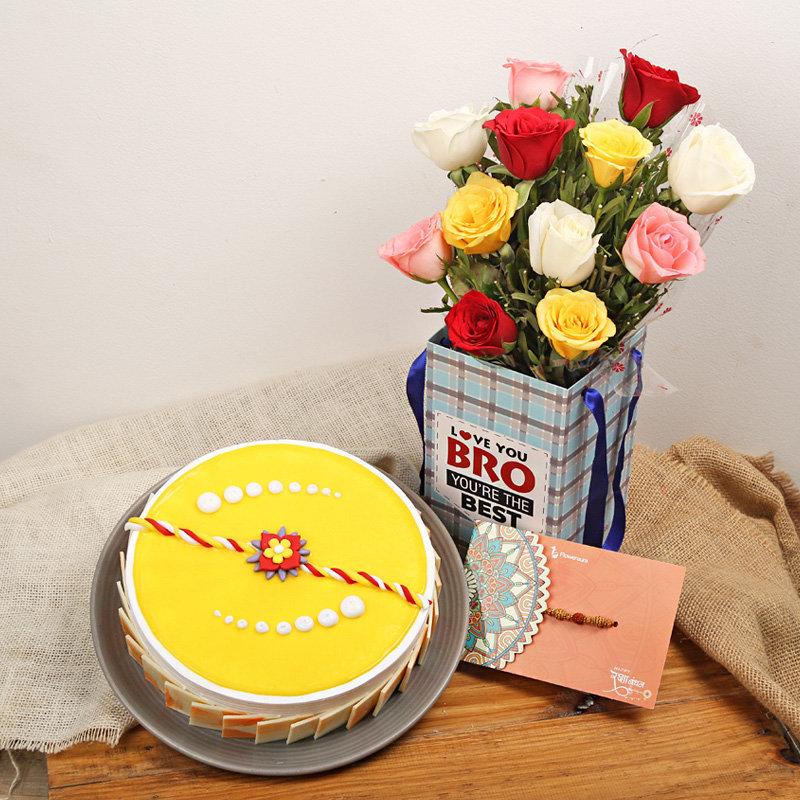 Rakhi Cake and Roses Combo