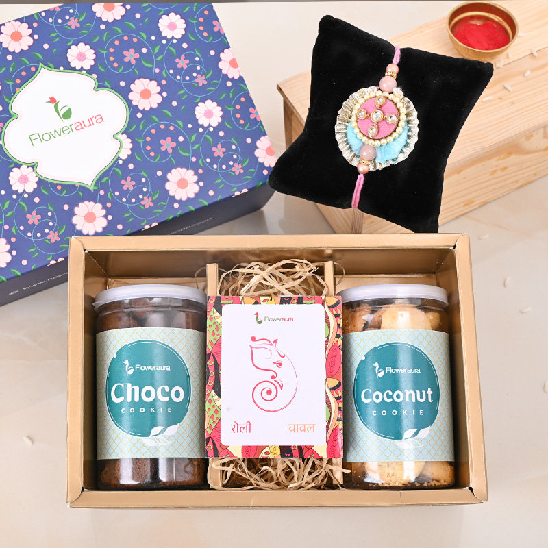 One Designer Rakhi - Rakhi Cookies Signature Box