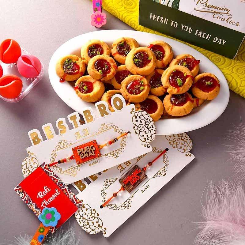 Rakhi Duo With Jam Cookies
