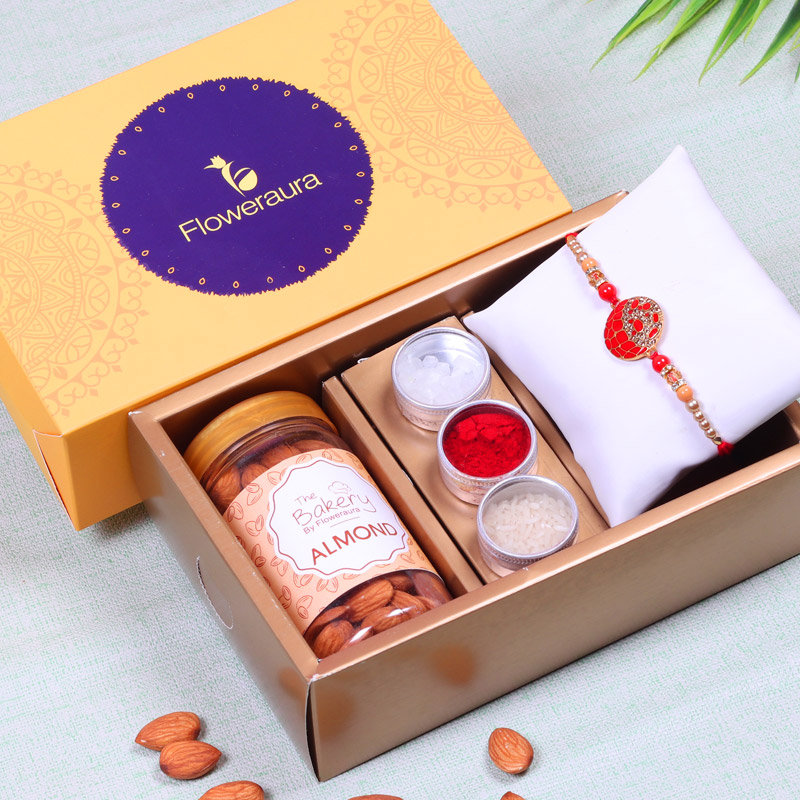 Rakhi N Almonds Hamper - Rakhi with Gifts Online