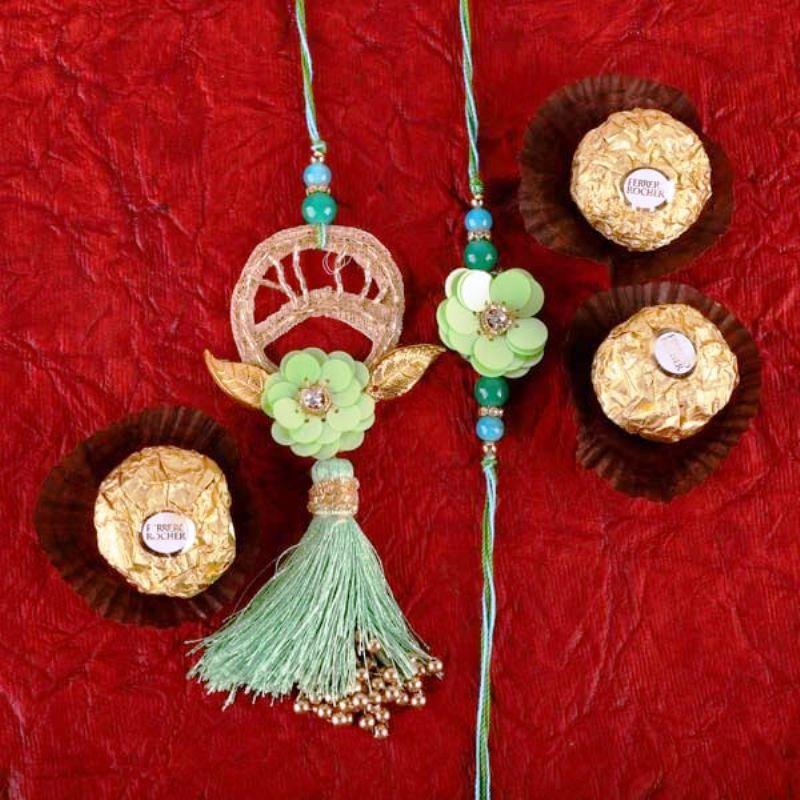 Rakhi N Ferrero Rochers Combo With Rakhi Gifts to USA