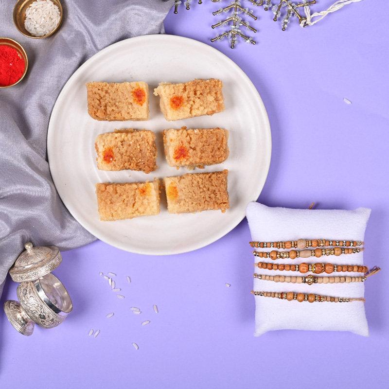 Set of 5 Traditional Rakhis - Rudraksha Rakhi N Milk Cake Combo