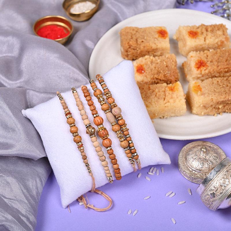 Rudraksha Rakhi N Milk Cake Combo - Set of 5 Traditional Rakhis
