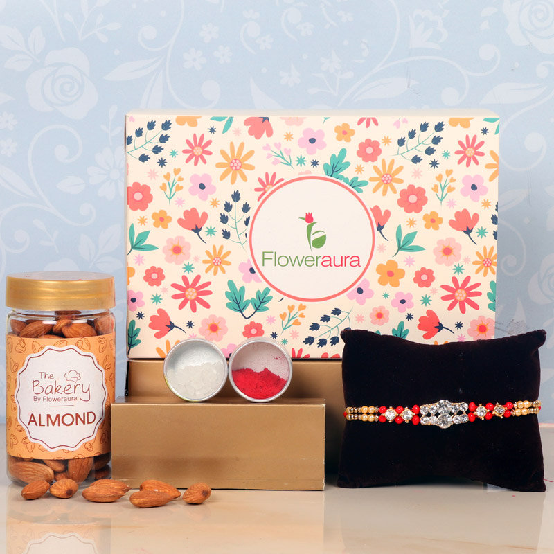 Rakhi Nut Hamper - One Designer Rakhi with Roli and Chawal and Almonds and One Floweraura Signature Box