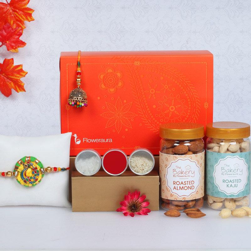 Rakhi Signature Box For Bhaiya Bhabhi - Set of Bhaiya Bhabhi Designer Rakhi with Roli and Chawal and Roasted Cashews and Roasted Almonds and One Floweraura Signature Box