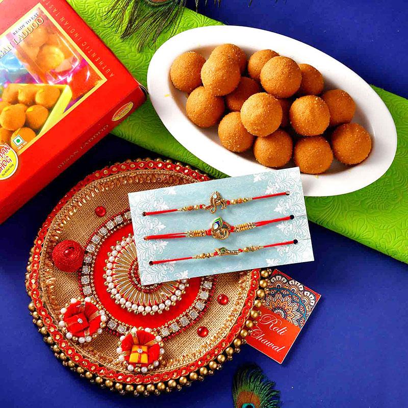 Rakhi Sweet Thali Combo - Set of 3 Krishna Moor Pankhi Rakhi