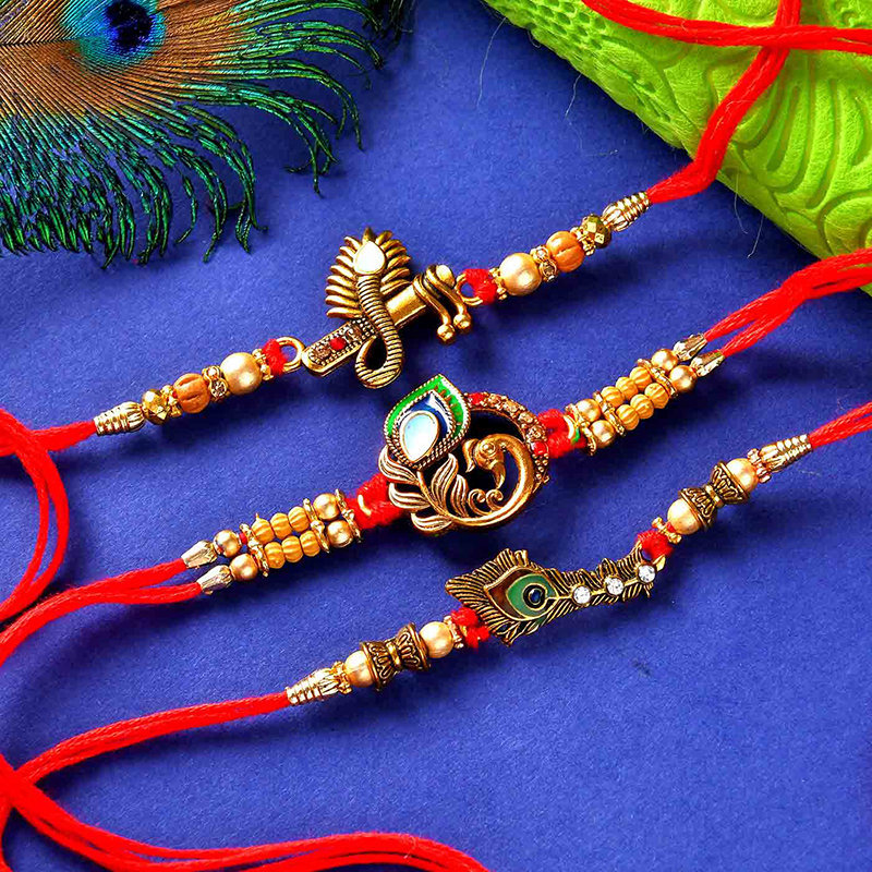 Set of 3 Krishna Moor Pankhi Rakhi - Rakhi Sweet Thali Combo