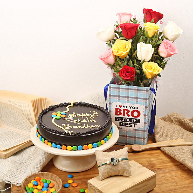 Rakhi Wiith Cake n Roses - Order Now for Same Day Delivery in India