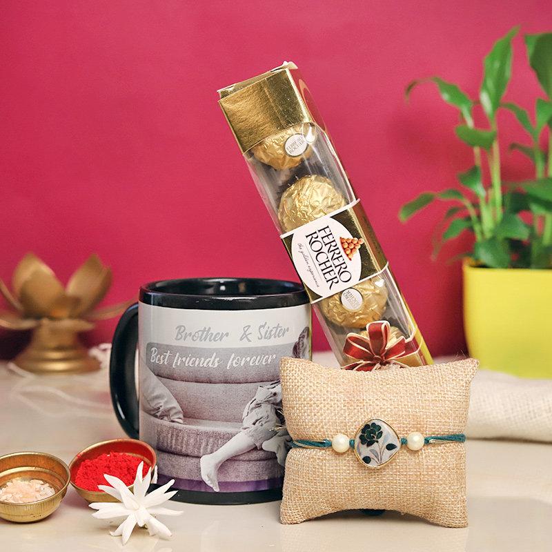 Rakhi With Ferrero Rocher N Personalised Mug