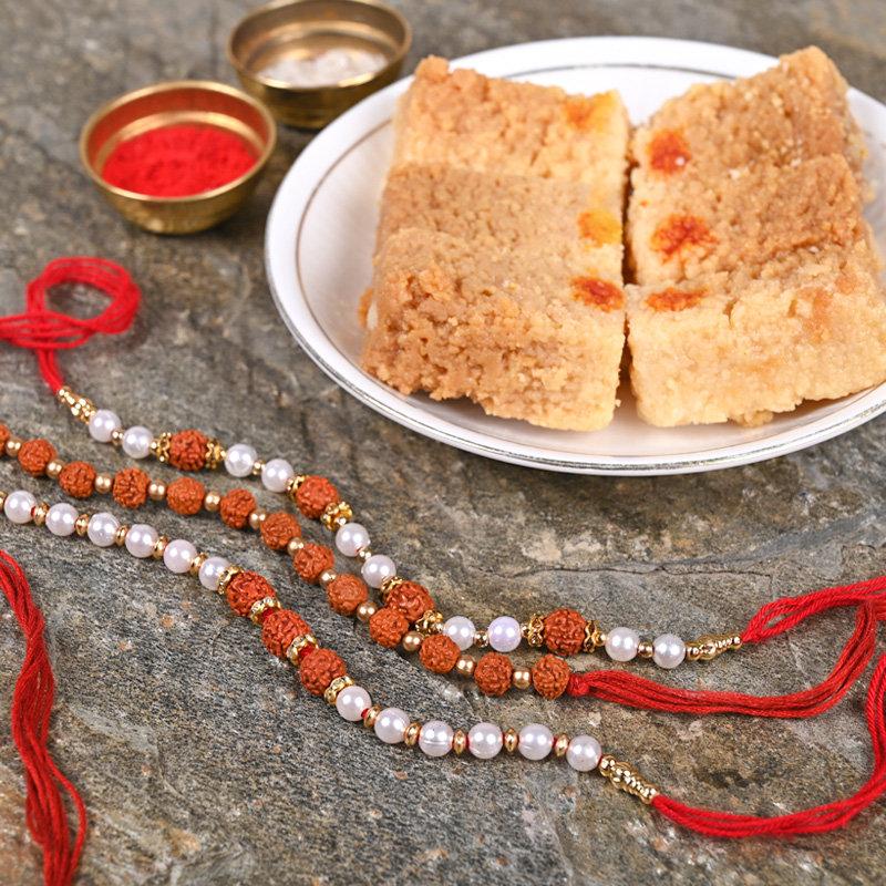 Set of 3 Rudraksh Rakhis - Rakhi With Sweets Combo