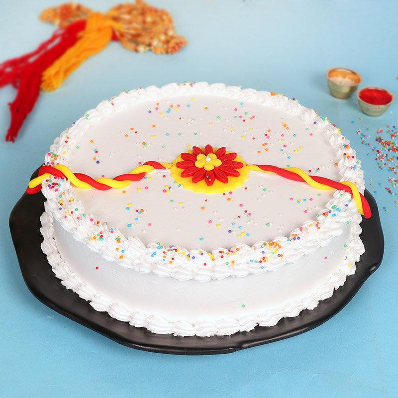Rudraksha Rakhi Vanilla Cake Combo