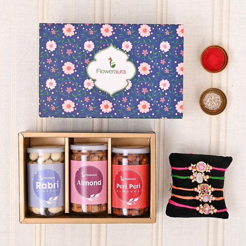 Set of 5 Designer Rakhi - Rakhis Almond Signature Box