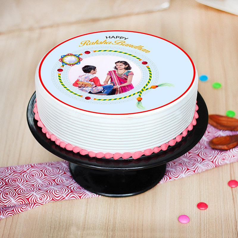 Photo Cake Rudraksha Rakhi Combo