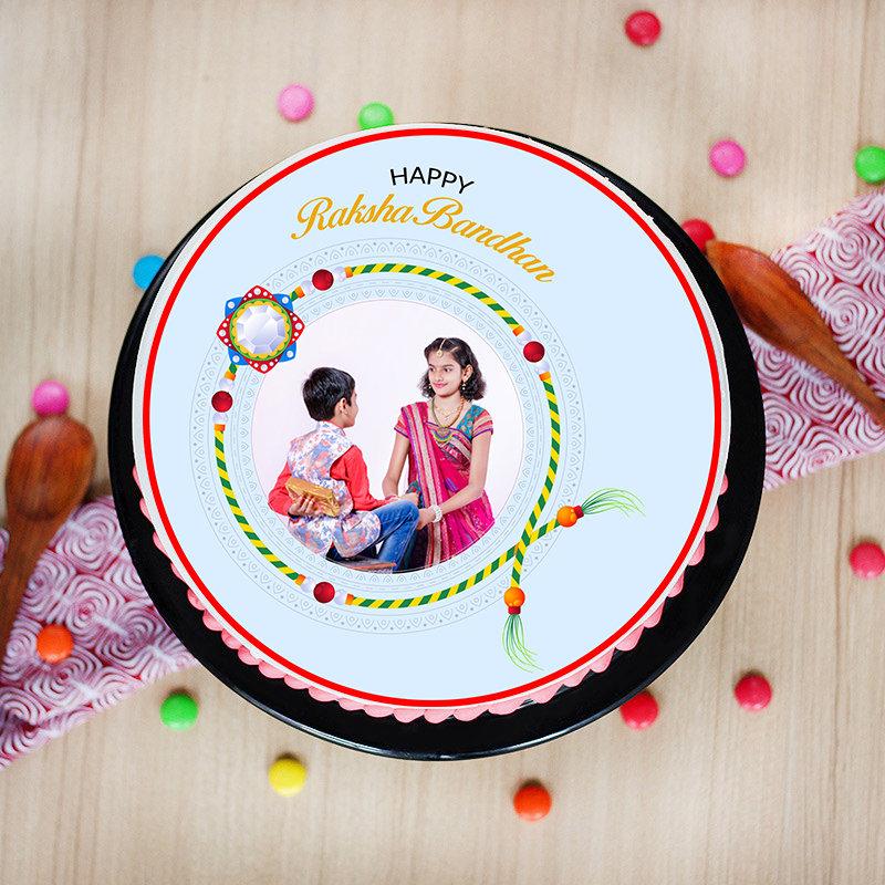 Top View of Photo Cake Rudraksha Rakhi Combo