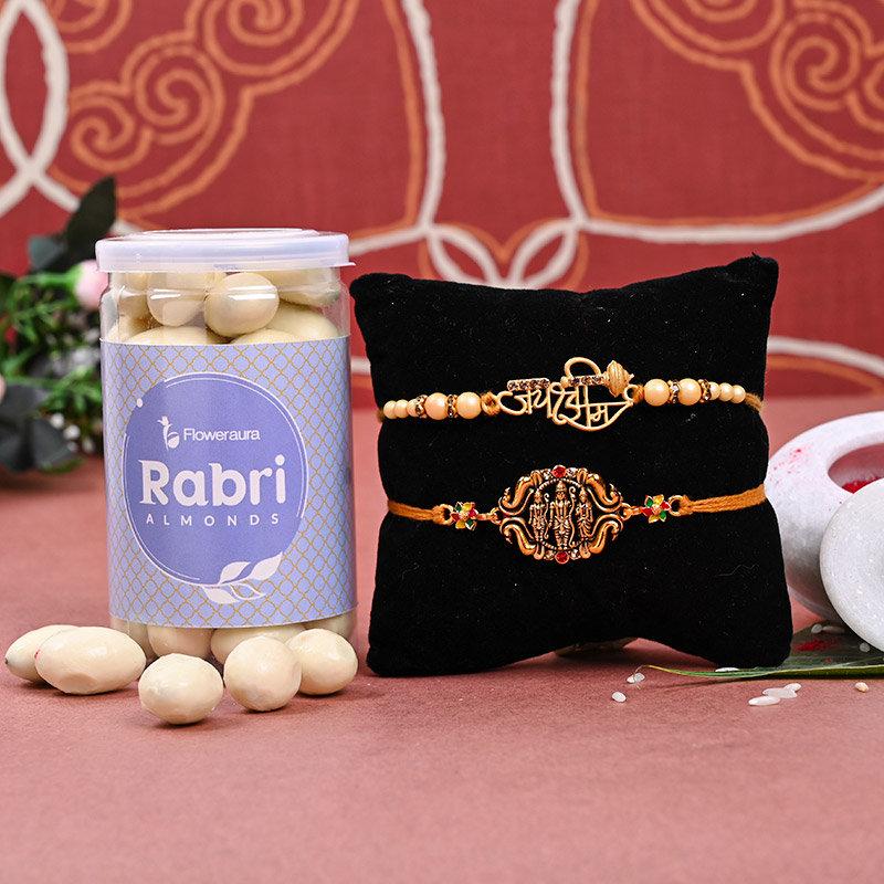 Set of 2 Designer Rakhi - Ramanaya Rakhi Almonds