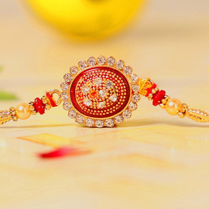 Rapture Red Rakhi - One Diamond Rakhi