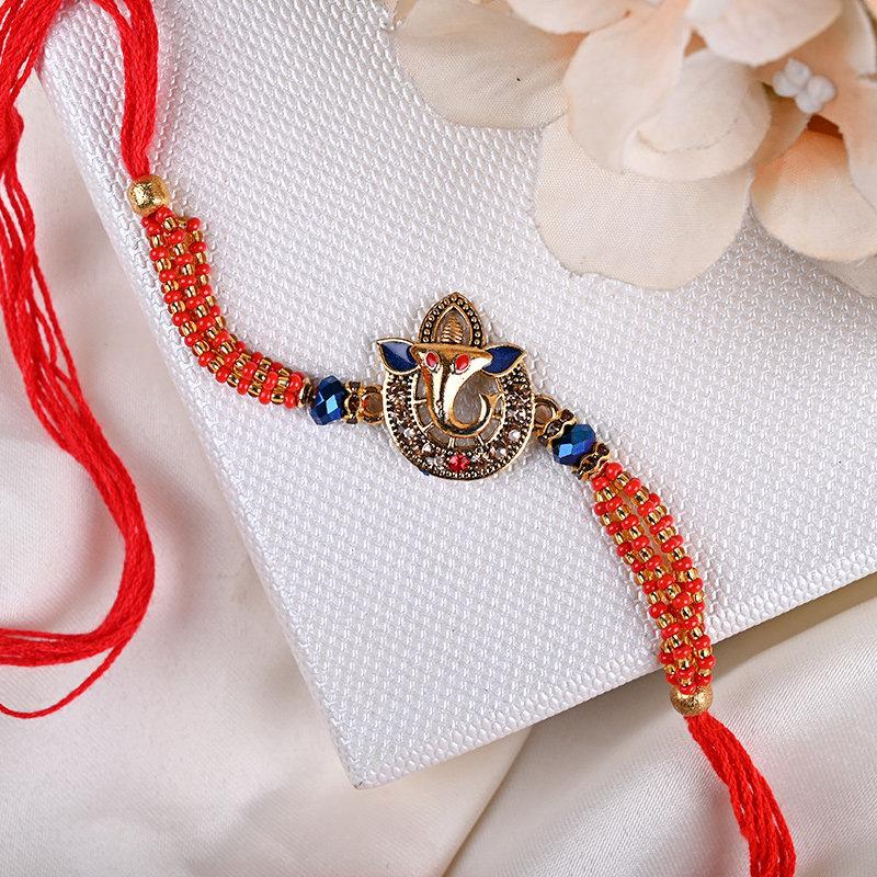 Red Auspicious Ganesha Rakhi