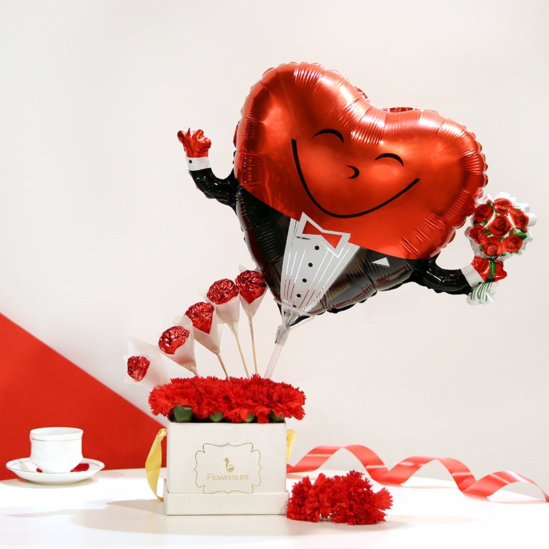 Red Carnation Balloon Box