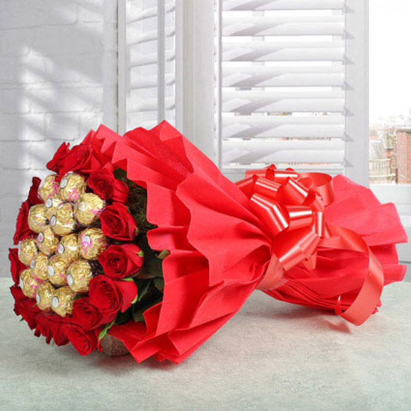 Superb Red Roses and Chocolate Combo