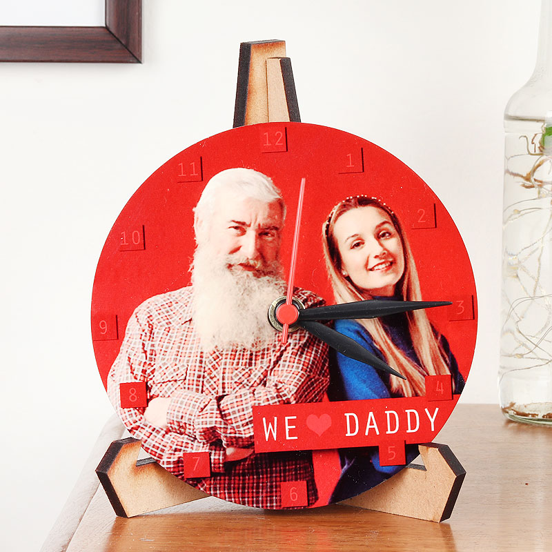 Red Customised Clock- Fathers Day
