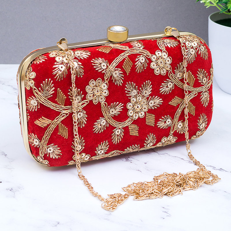 Red Ethnic Clutch Bag