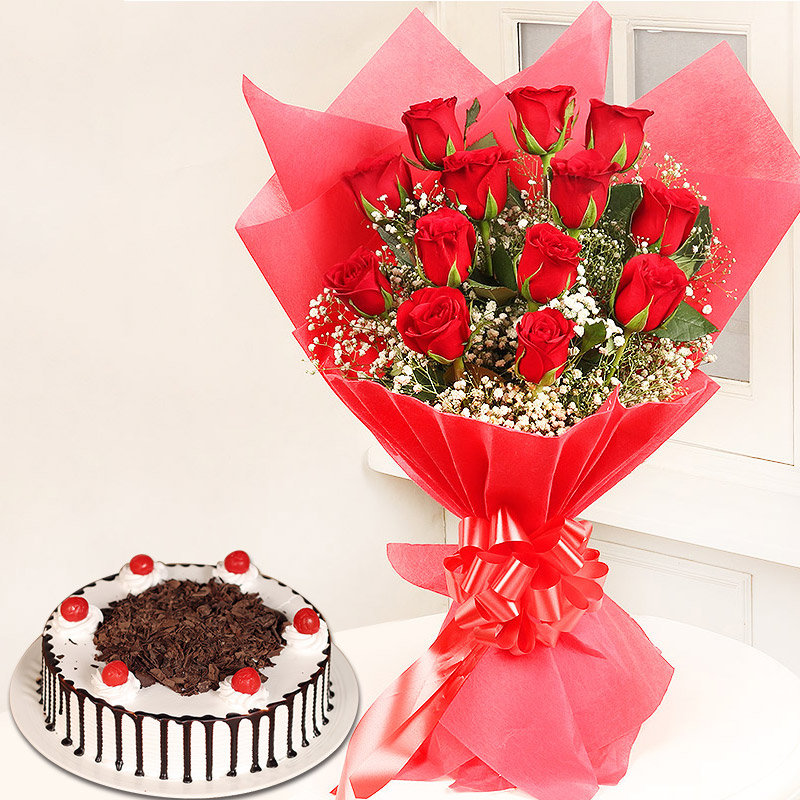 Red Foresty Combo - Bunch of 12 Red Roses with 1 Kg Black Forest Cake