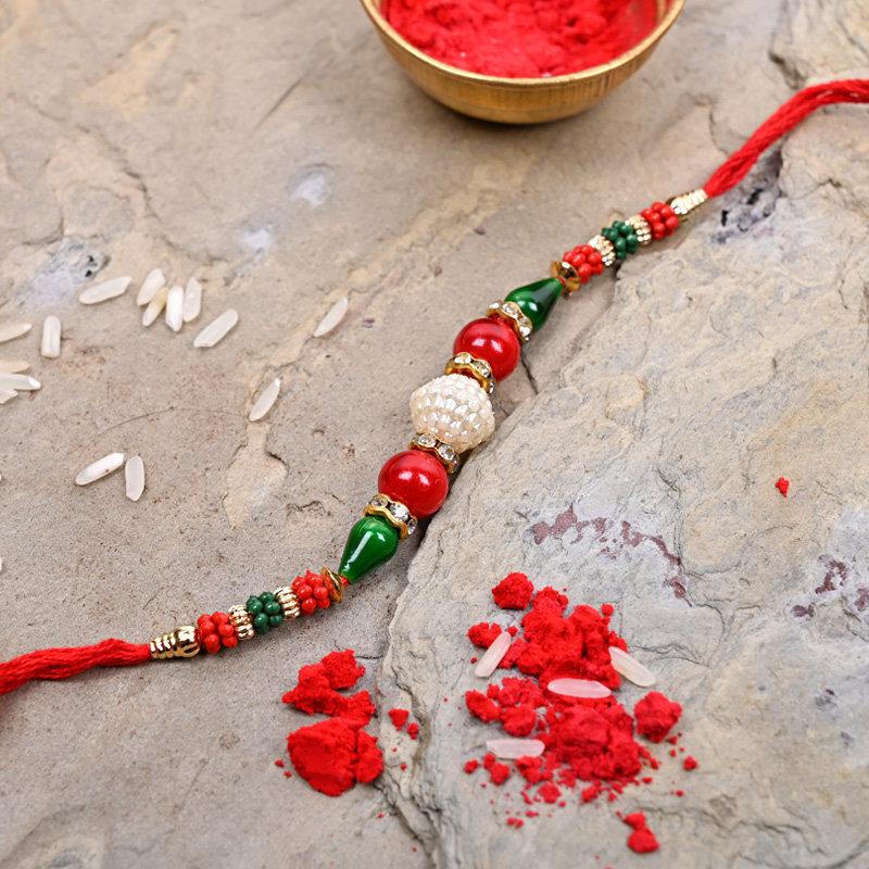 Green And Red Beads Rakhi