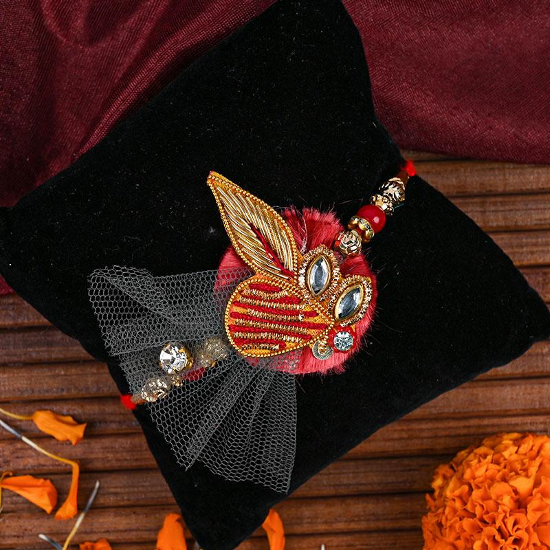 Red Jewell Designer Rakhi - Zardosi rakhi, Diamond rakhi