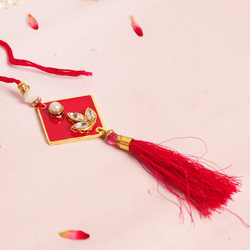 Red Kundan Lumba Rakhi