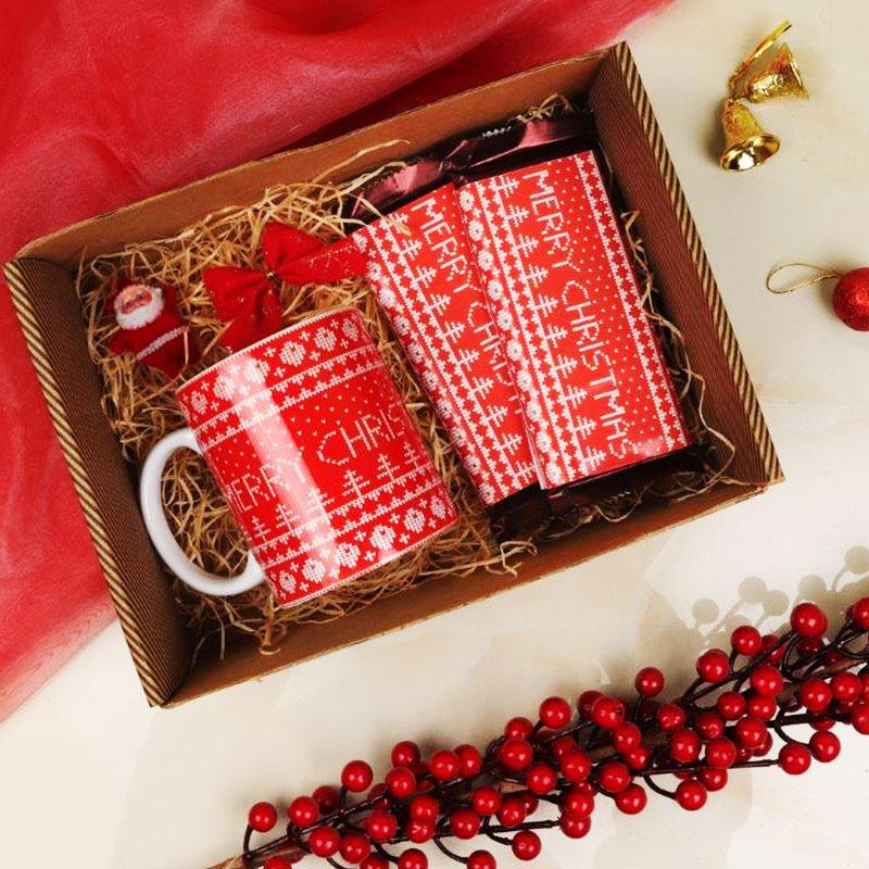 Christmas Gift Box of 2 Coffee Mugs and Chocolates