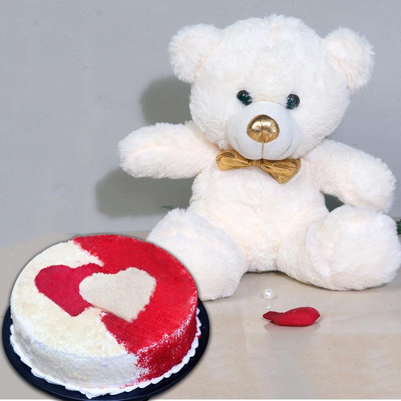 Red N White Combo - 12 Inch Teddy with 1 Kg Red Velvet Cake