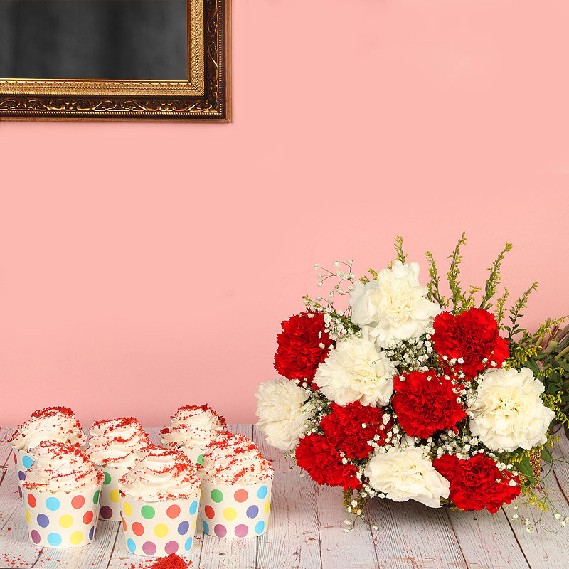 Red N White Delish Combo - Bunch of 12 Carnations with 6 Red Velvet Cup Cakes