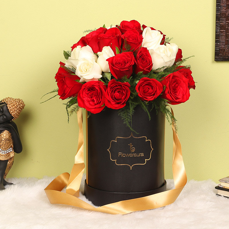 Red N White Love - Bouquet of 34 Red and White Roses in Black Flower Box