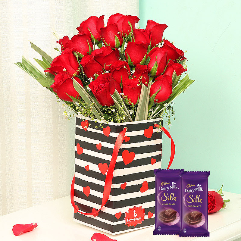 Red Rose Box With Dairy Milk Silk - Bunch of 20 Red Roses with Love Flower Box and 2 Dairy Milk Silk