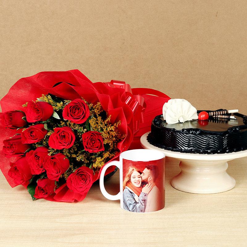 Red Rose Choco Cake and Custom Mug Combo