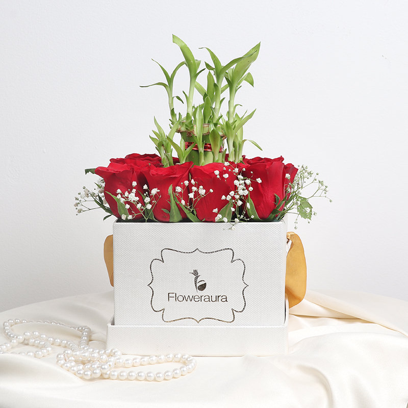 Red Rose and Bamboo in Flower Box