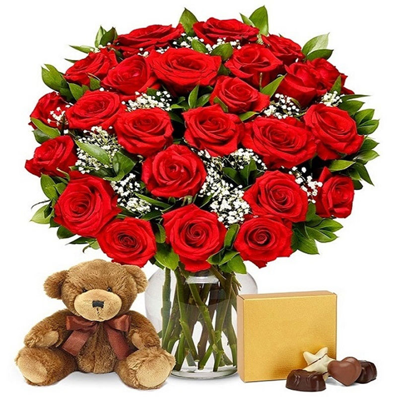 Red Roses With Chocolates N Teddy