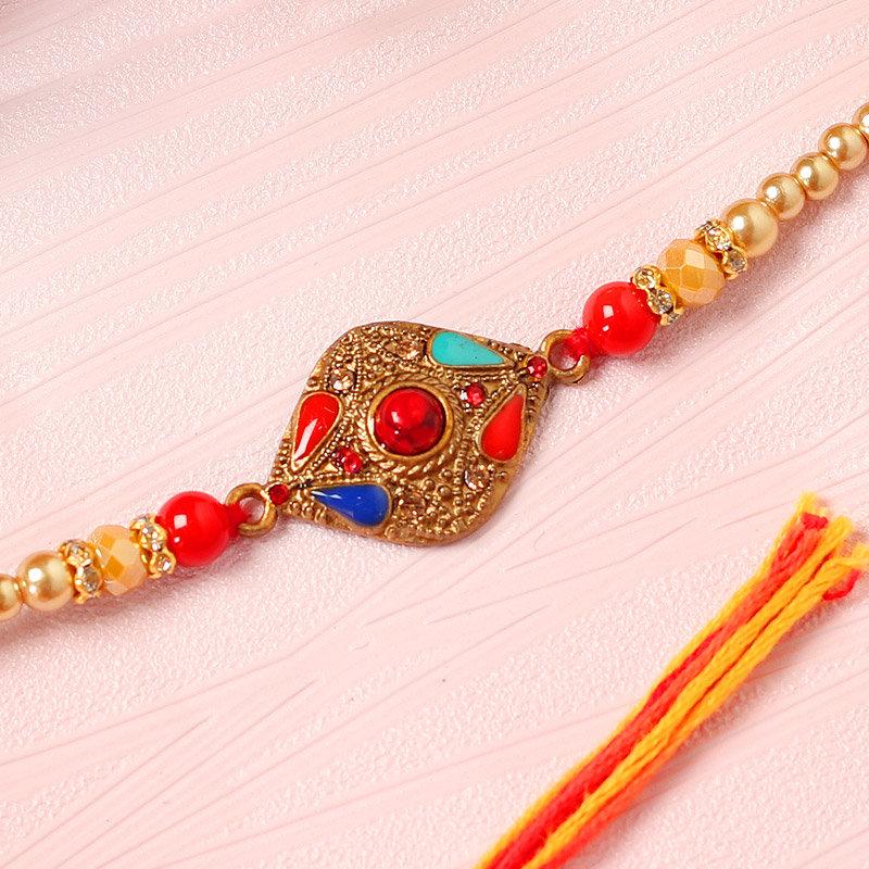 Red Stone Golden Rakhi