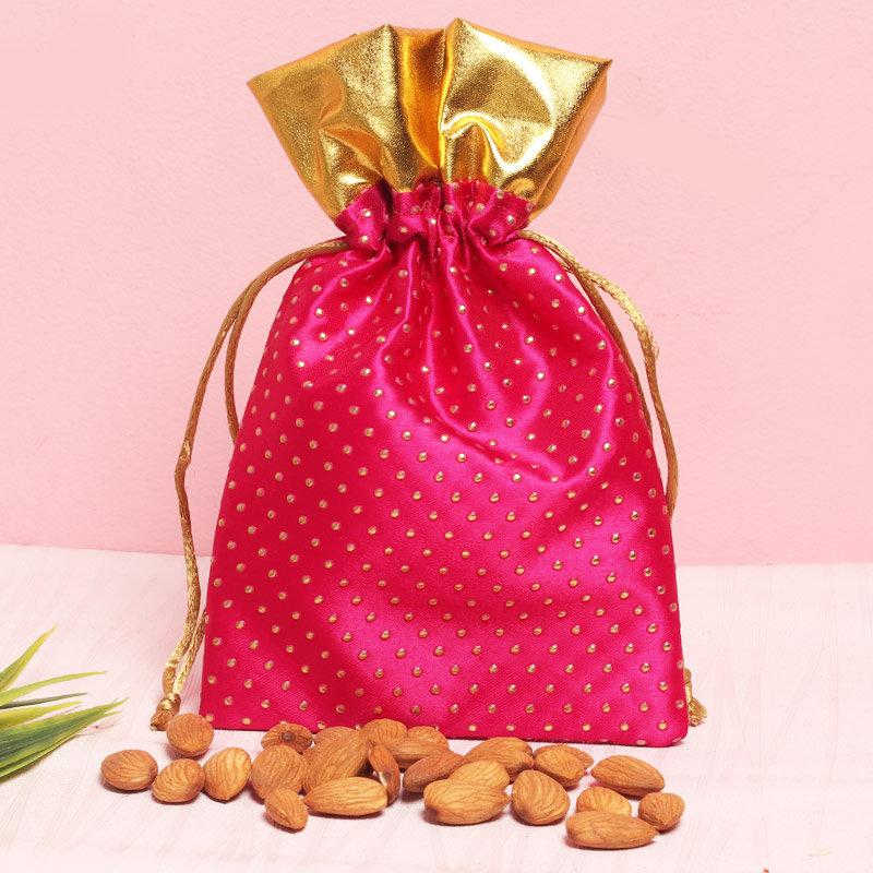 Red Stone N Almonds Rakhi Combo - Rakhi with Gifts Online