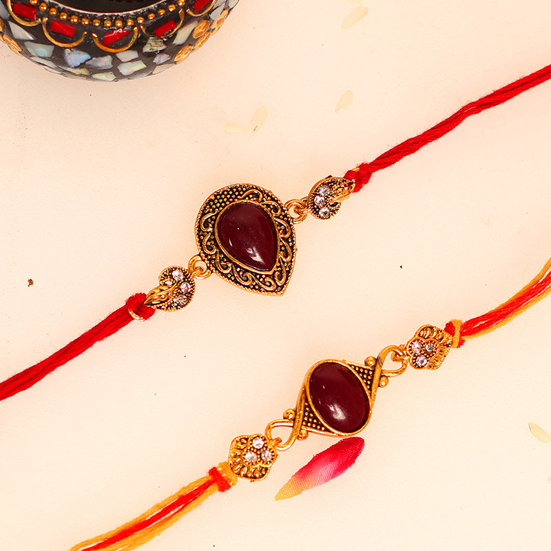 Product in Red Stone N Almonds Rakhi Combo