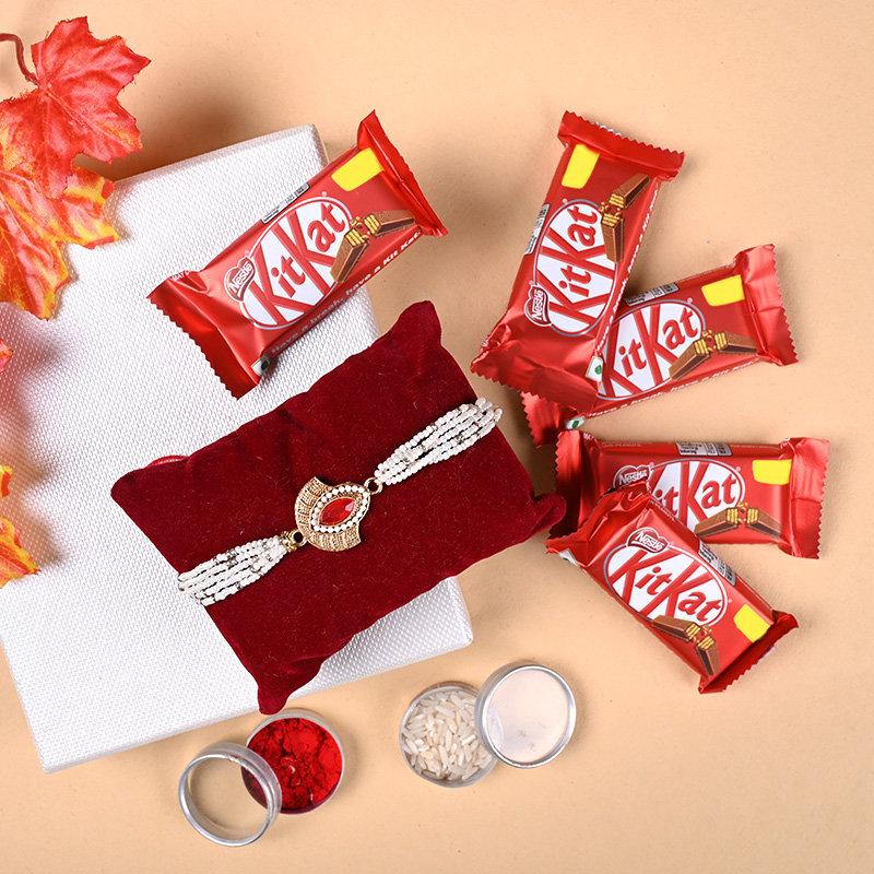 Red Stone Rakhi N Chocolates - Designer Rakhi